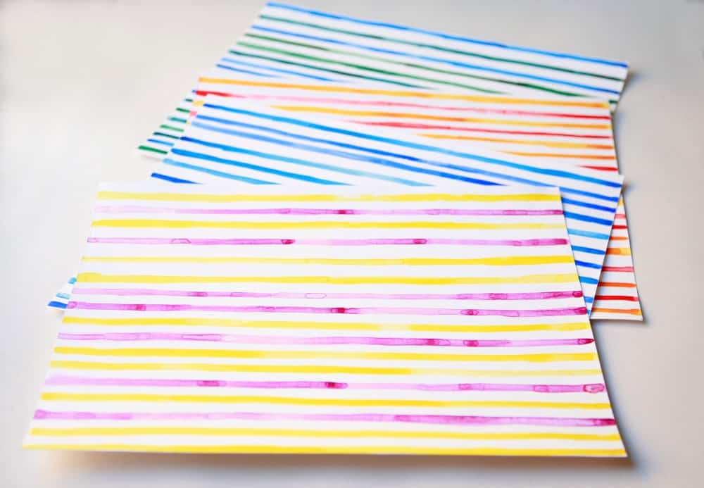 painted striped paper