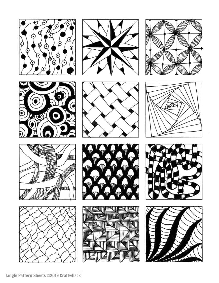 image regarding Printable Zentangle Patterns named Encouraged As a result of Zentangle: Habits and Rookie Web pages · Craftwhack