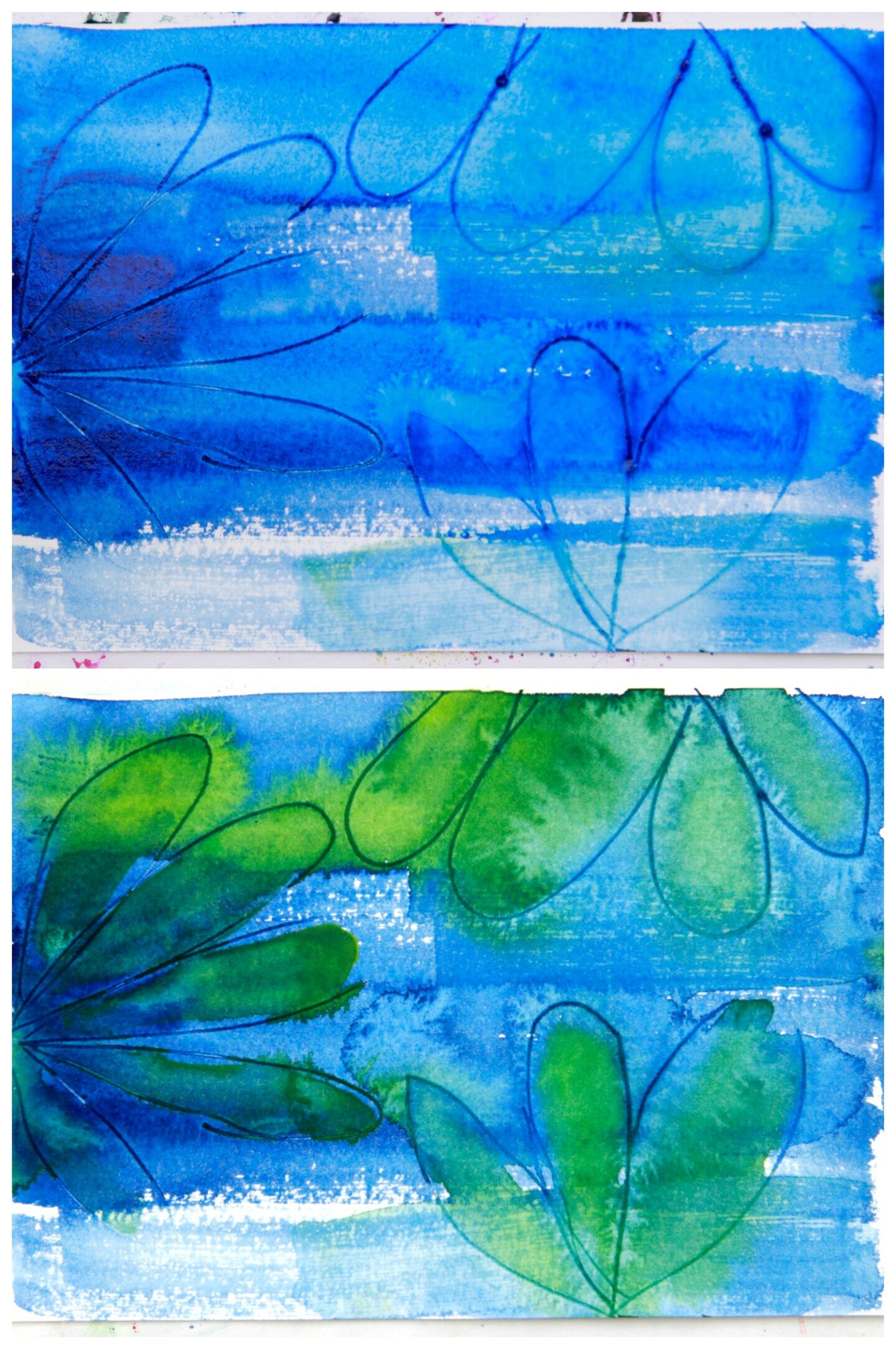 incised lines on watercolor blue background