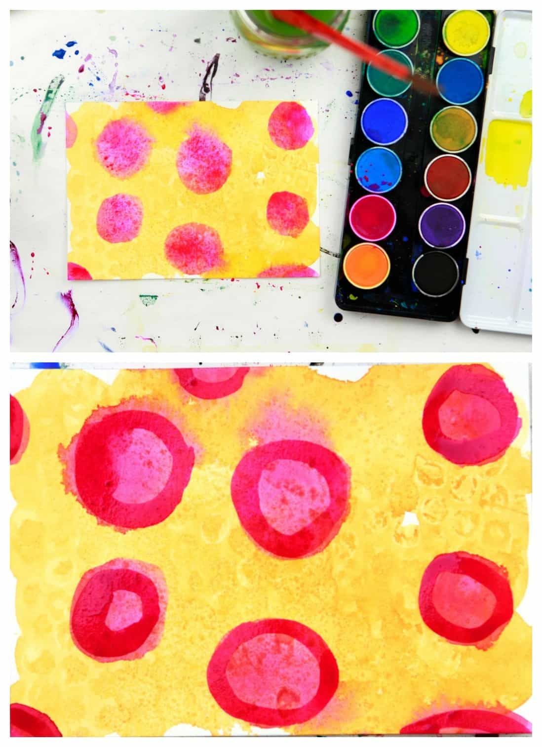 wet on wet watercolor pink circles on yellow background