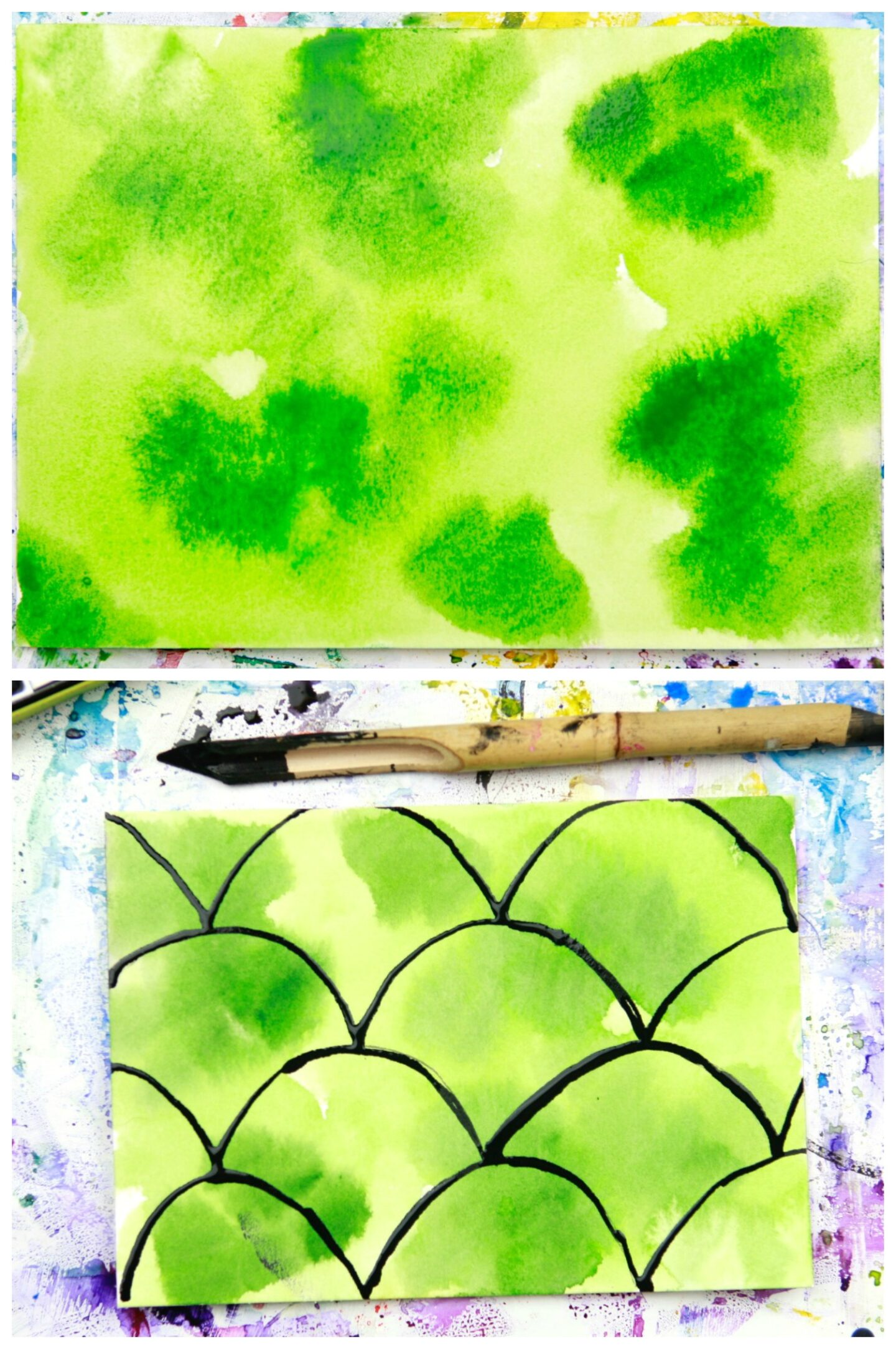 wet green watercolor background with ink design drawn over