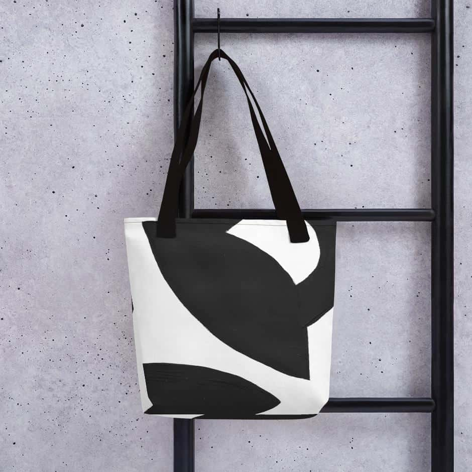 black on white printed modern abstract totebag