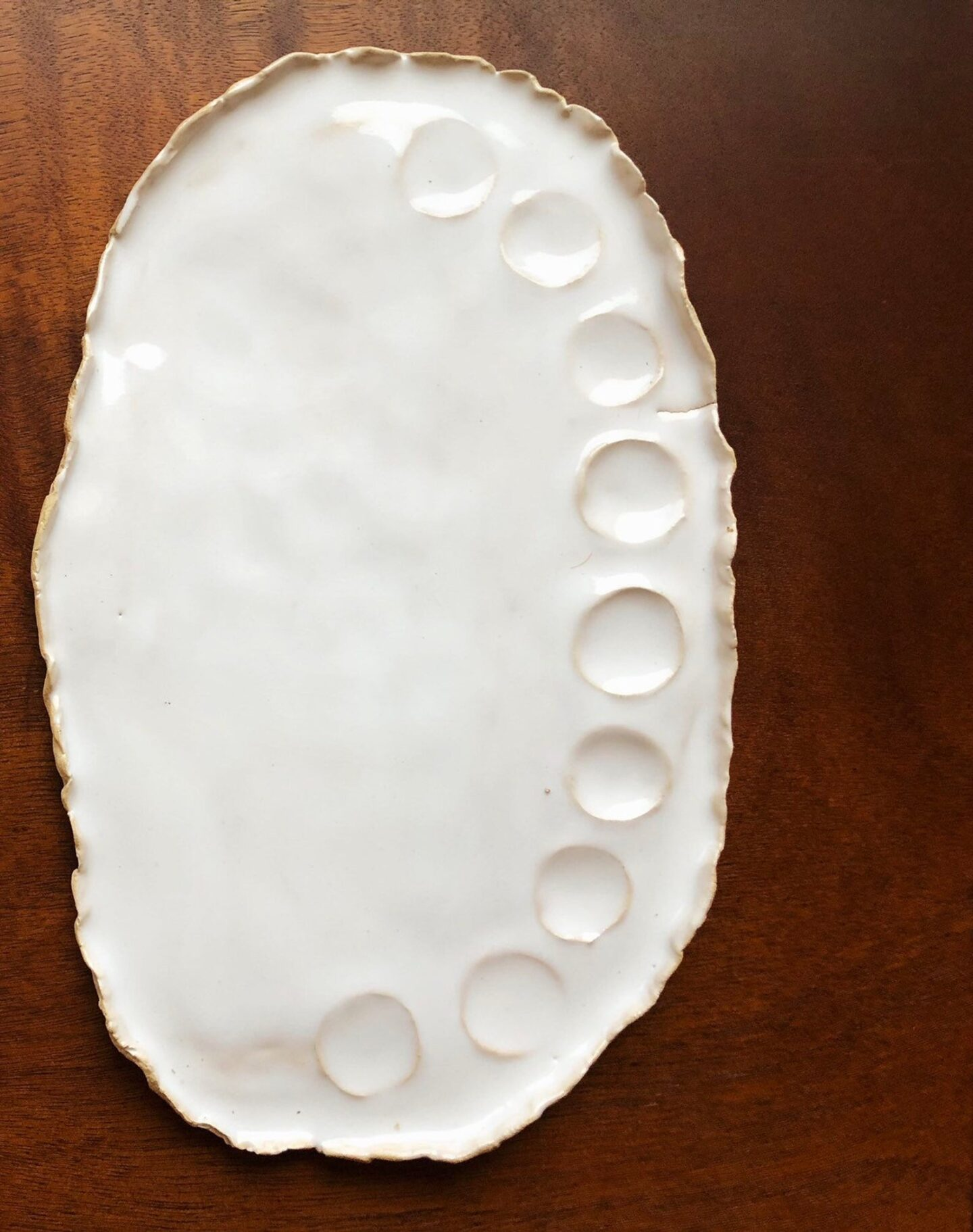 large white handmade ceramic paint palette