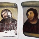 before and after photos of the Jsus fresco that was painted over by the old woman in Spain