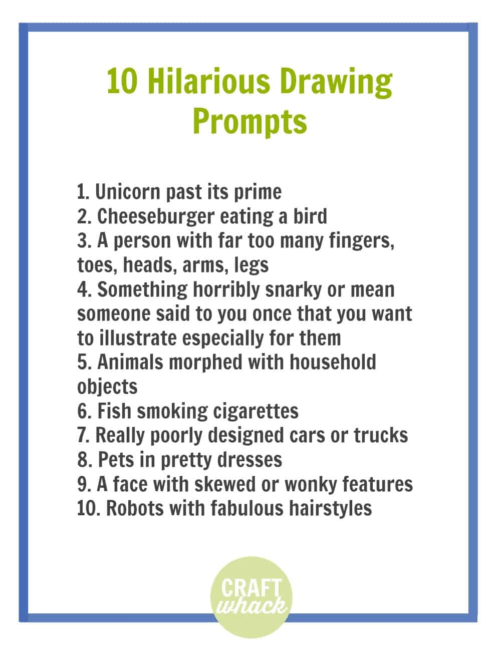 funny drawing prompts