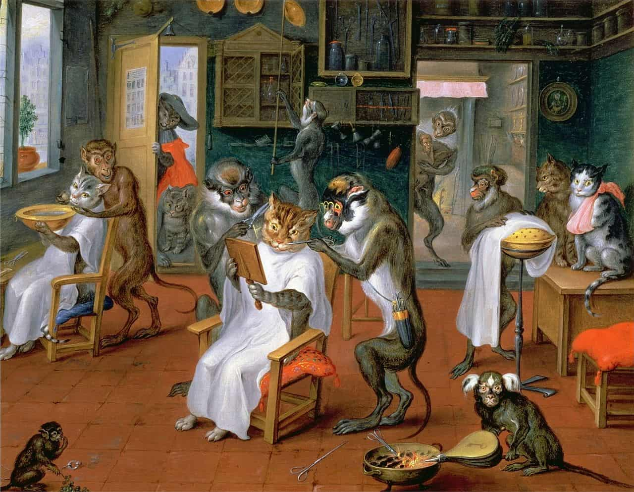 Abraham Teniers - painting monkeys and cats barbershop