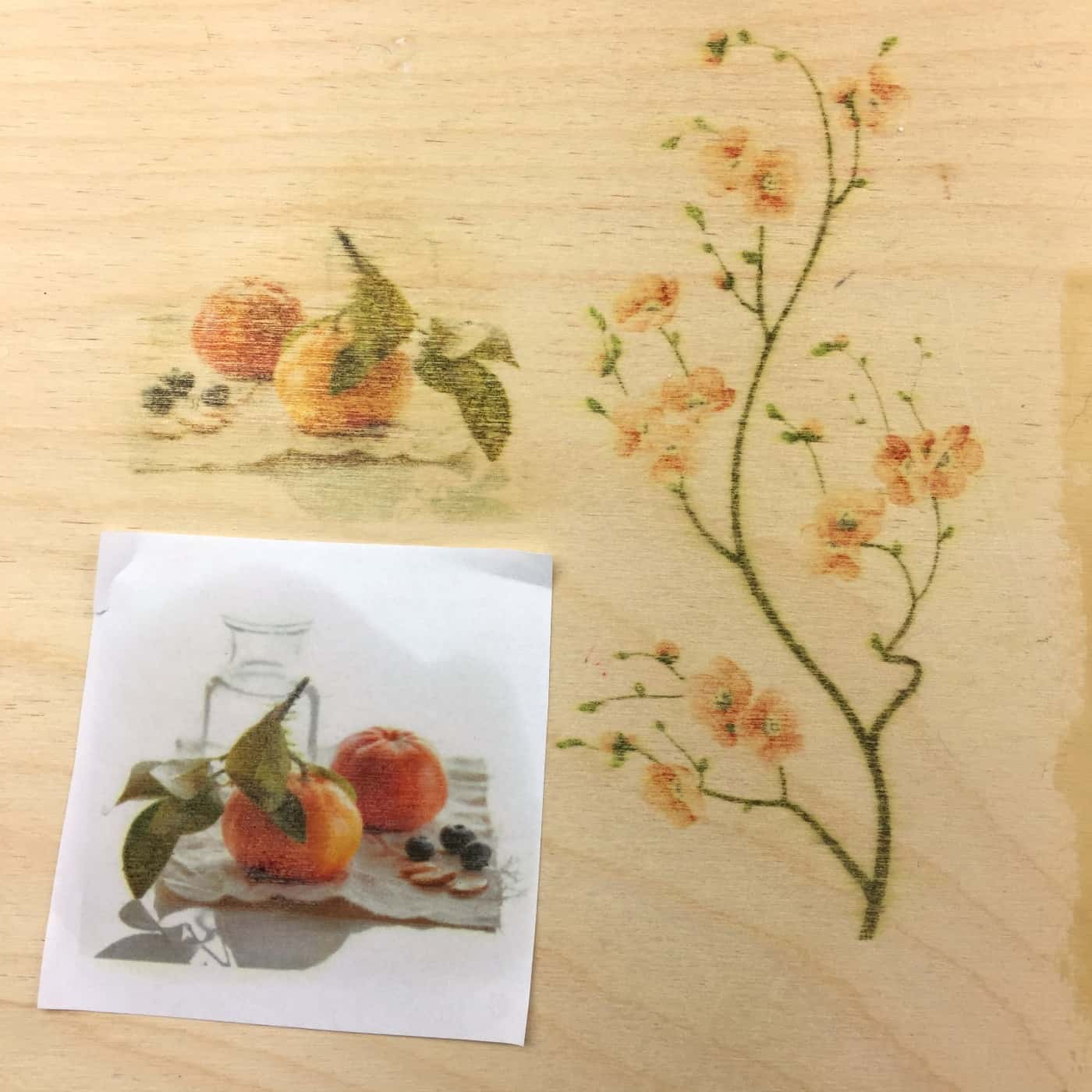 fruit and flower branch images transferred onto wood with blender pen