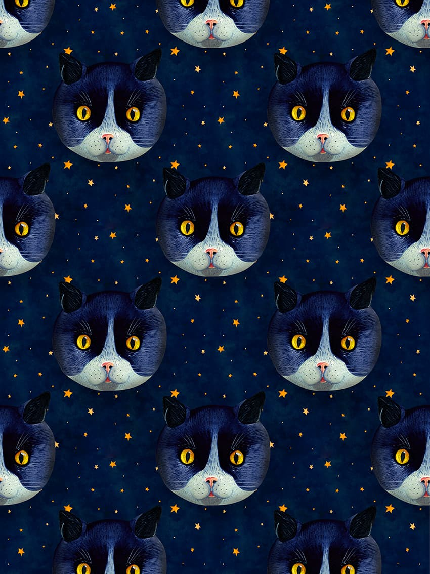 Cat pattern illustration by Aitch.