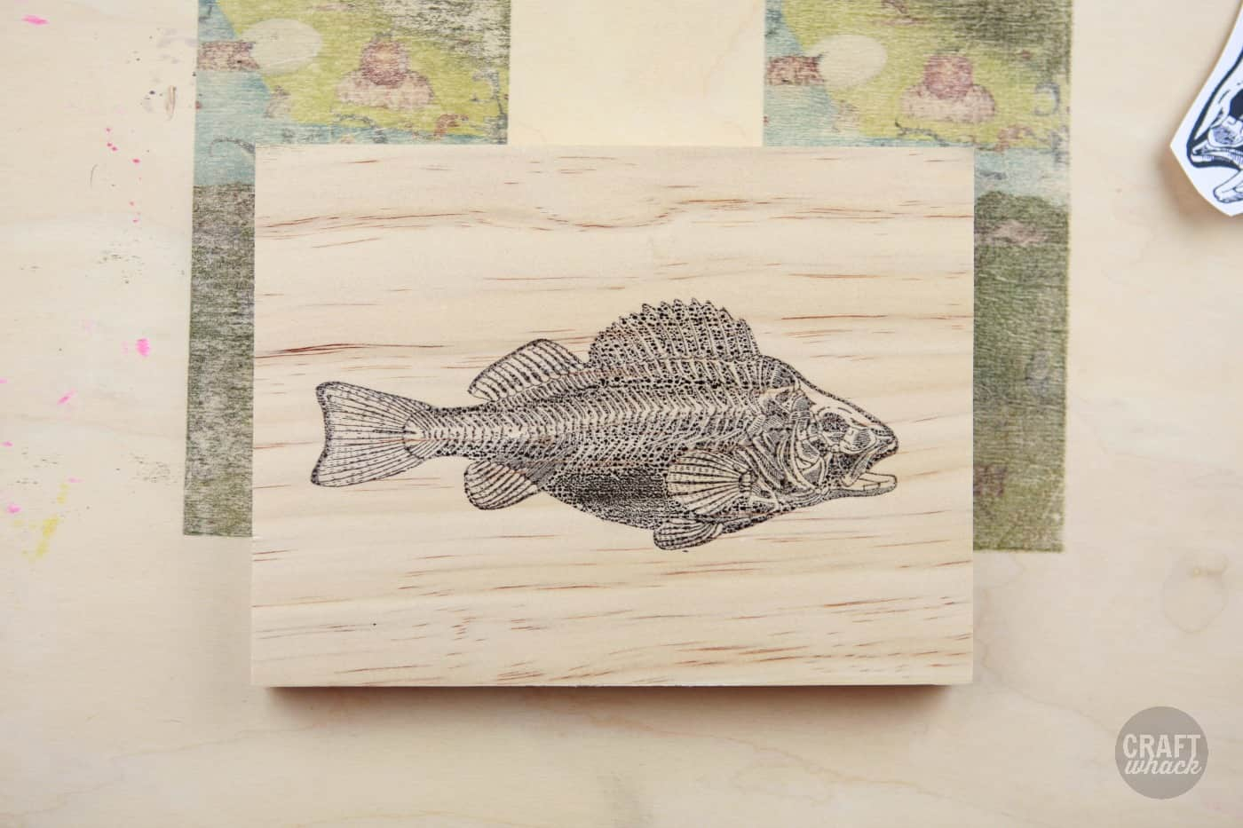 freezer paper transfer on wood - fish image