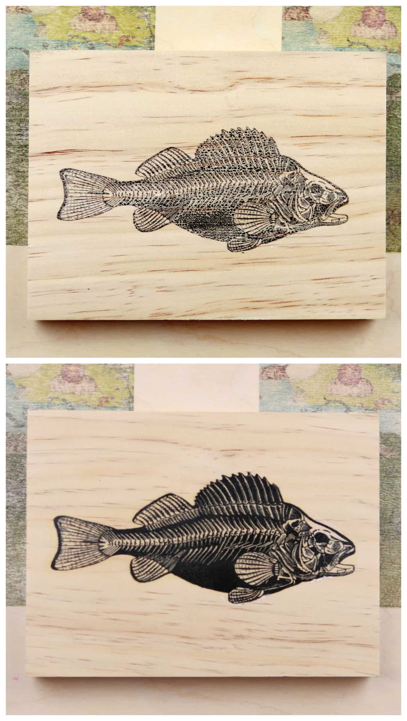 fish printed onto wood using print transfer techniques