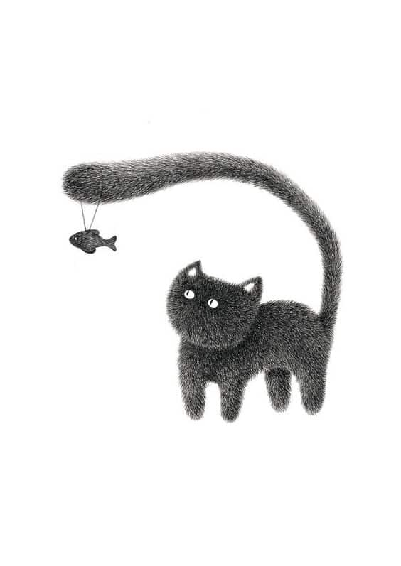 Illustration by Kamwei Fong  - funny cat with fish