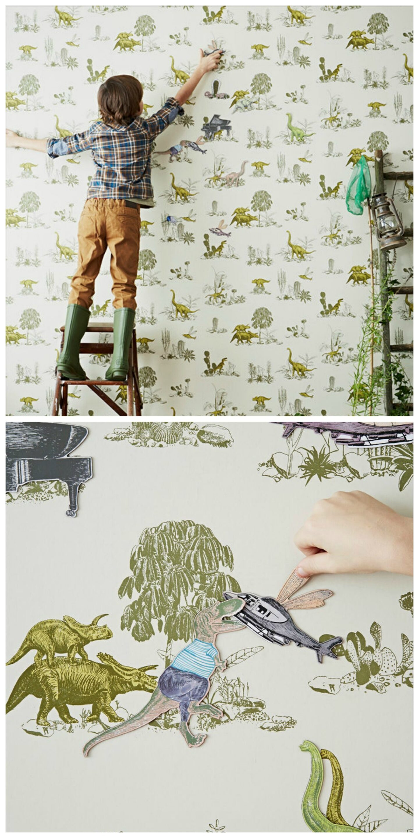 Dinosaur magnetic wallpaper for kids rooms