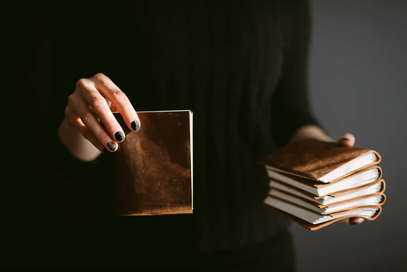Mini handmade leather sketchbooks