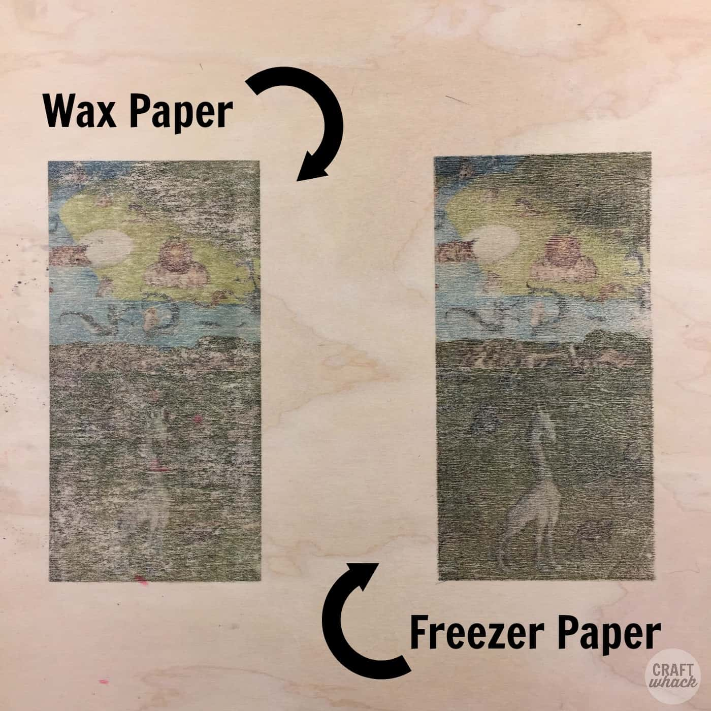 wax paper vs. freezer paper images on wood