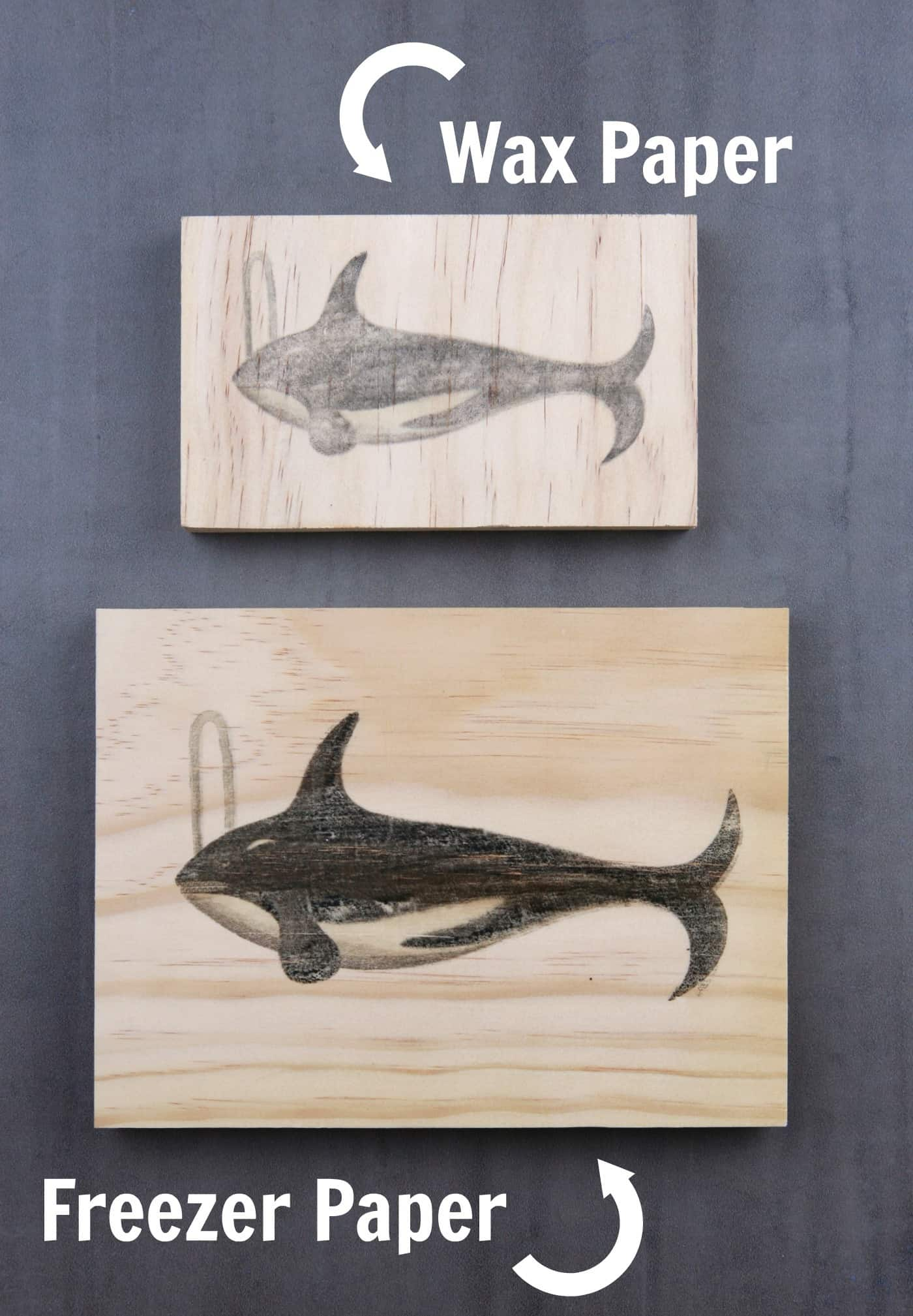 whale images using wax paper and freezer paper to transfer onto wood
