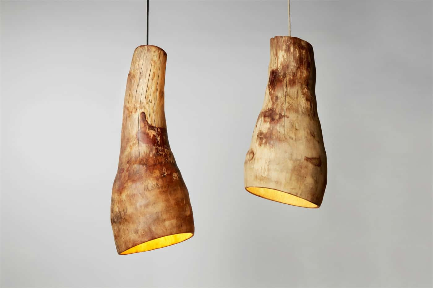 handmade hanging wood lights