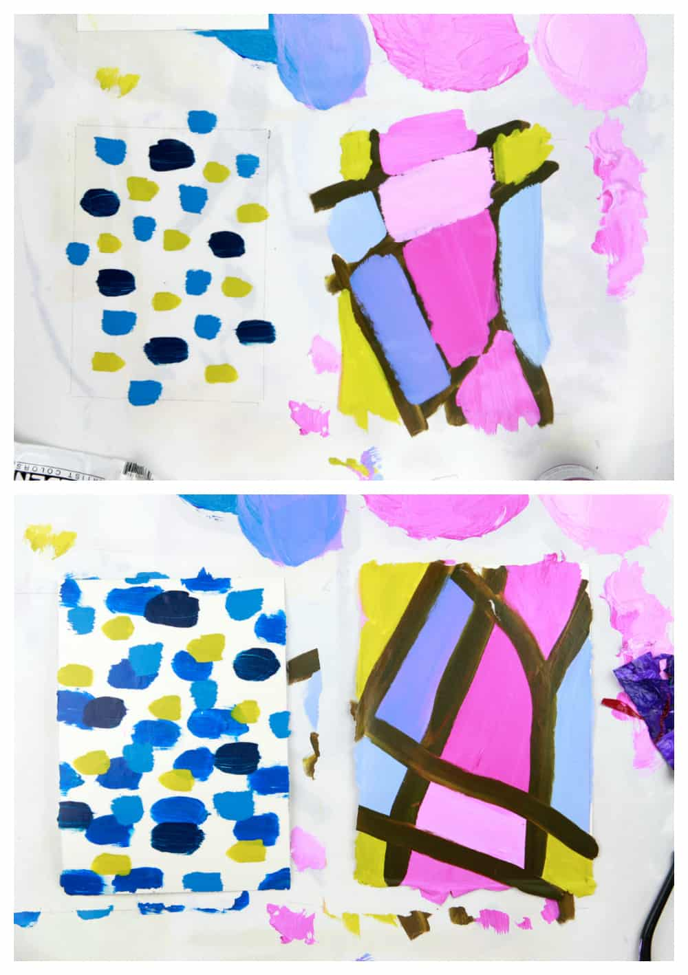 acrylic paint gel transfer steps showing front and back of abstract painted design