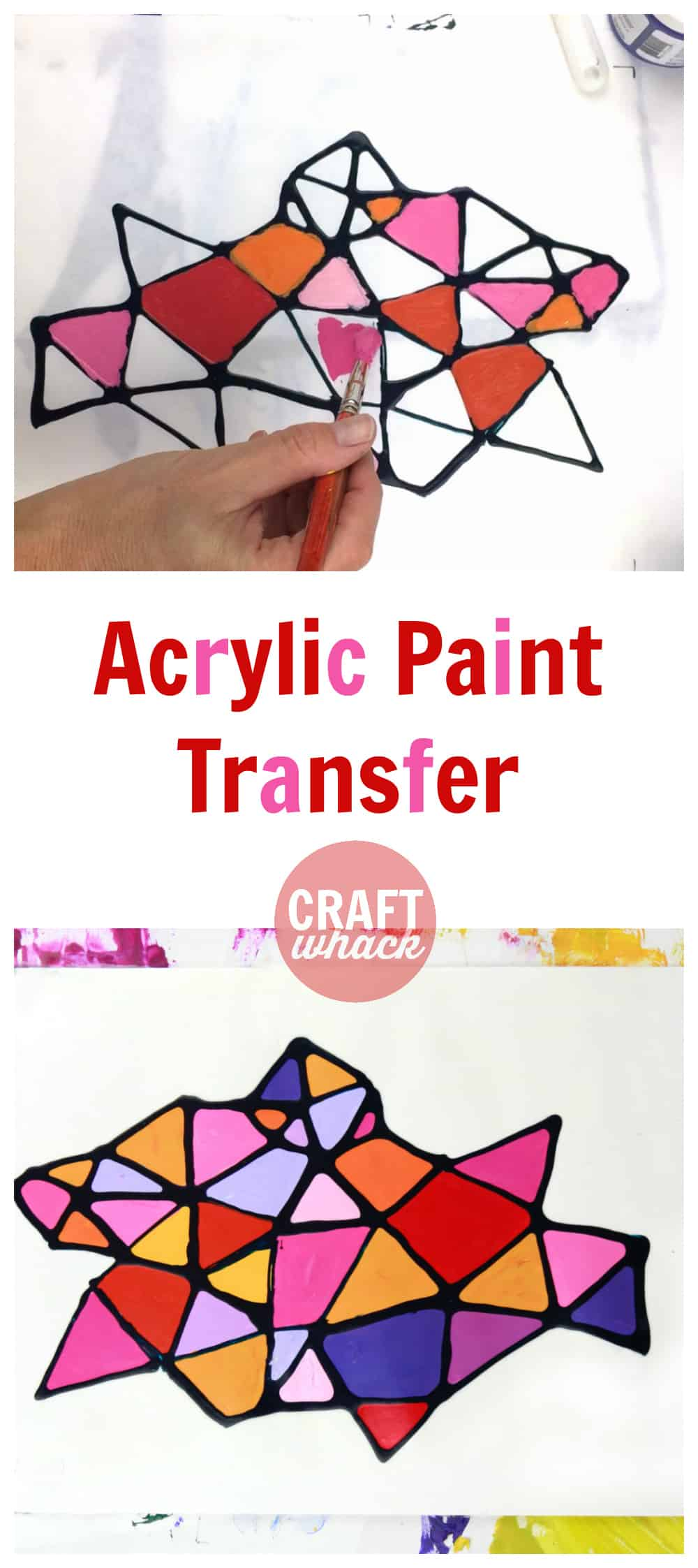 2 abstract acrylic paint designs showing how to do the acrylic paint transfer technique