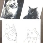 collage print of cat and owl with tracing drawing of cat and owl underneath
