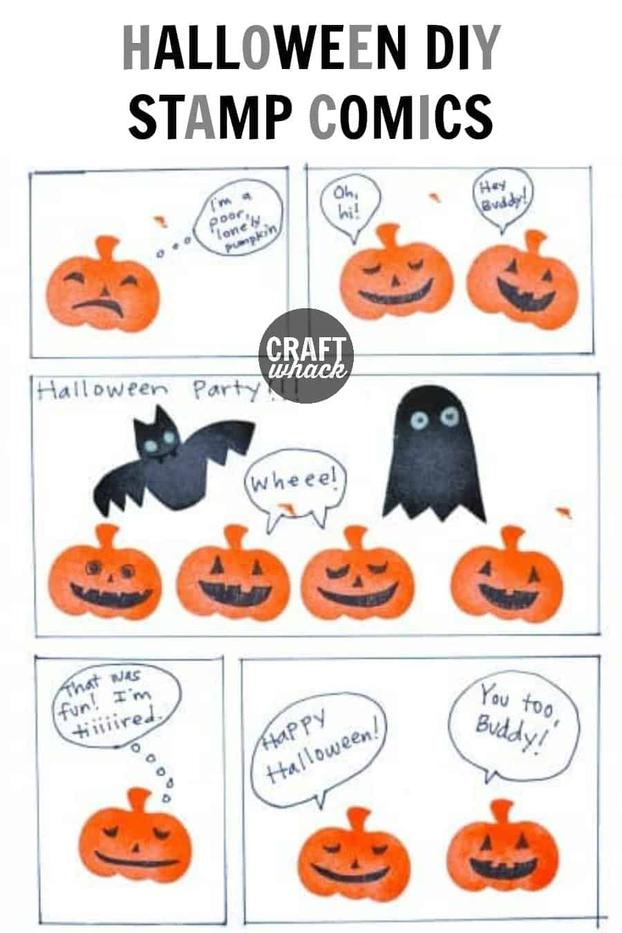 stamped jack o'lanterns, ghosts, and bats in a homemade comic page