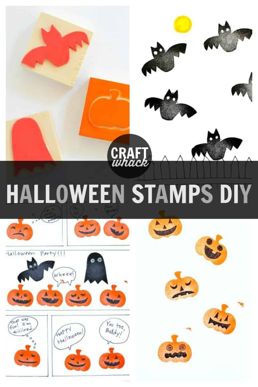 foam stamps of Halloween creatures: bats, ghosts and jack-o-lanterns as a kids craft