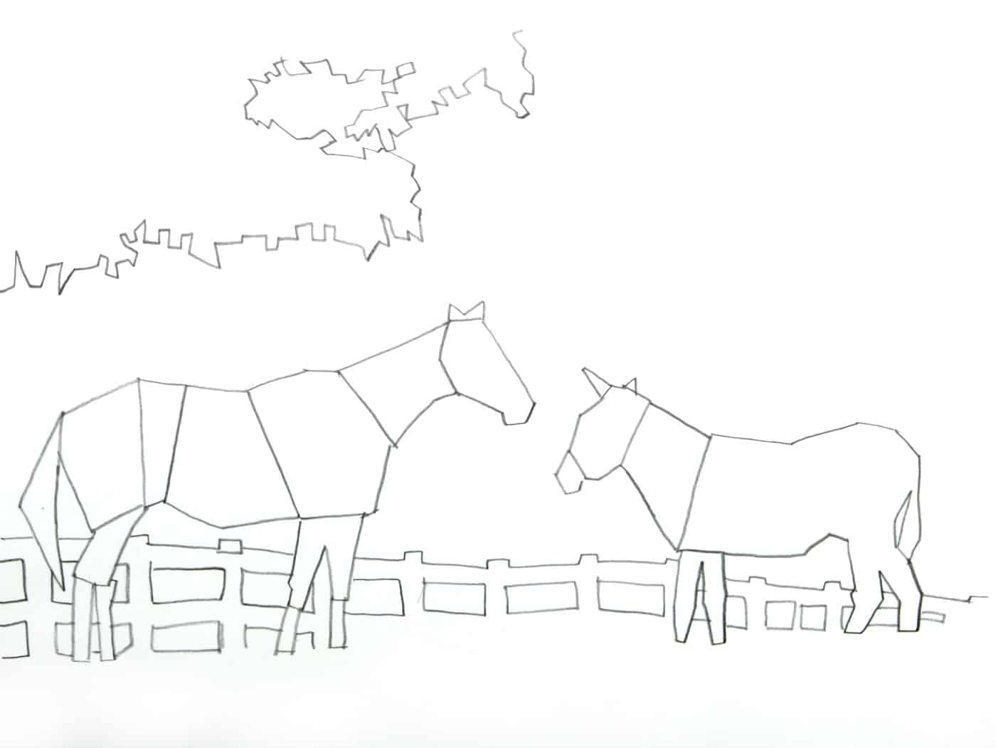 horse and donkey tracing