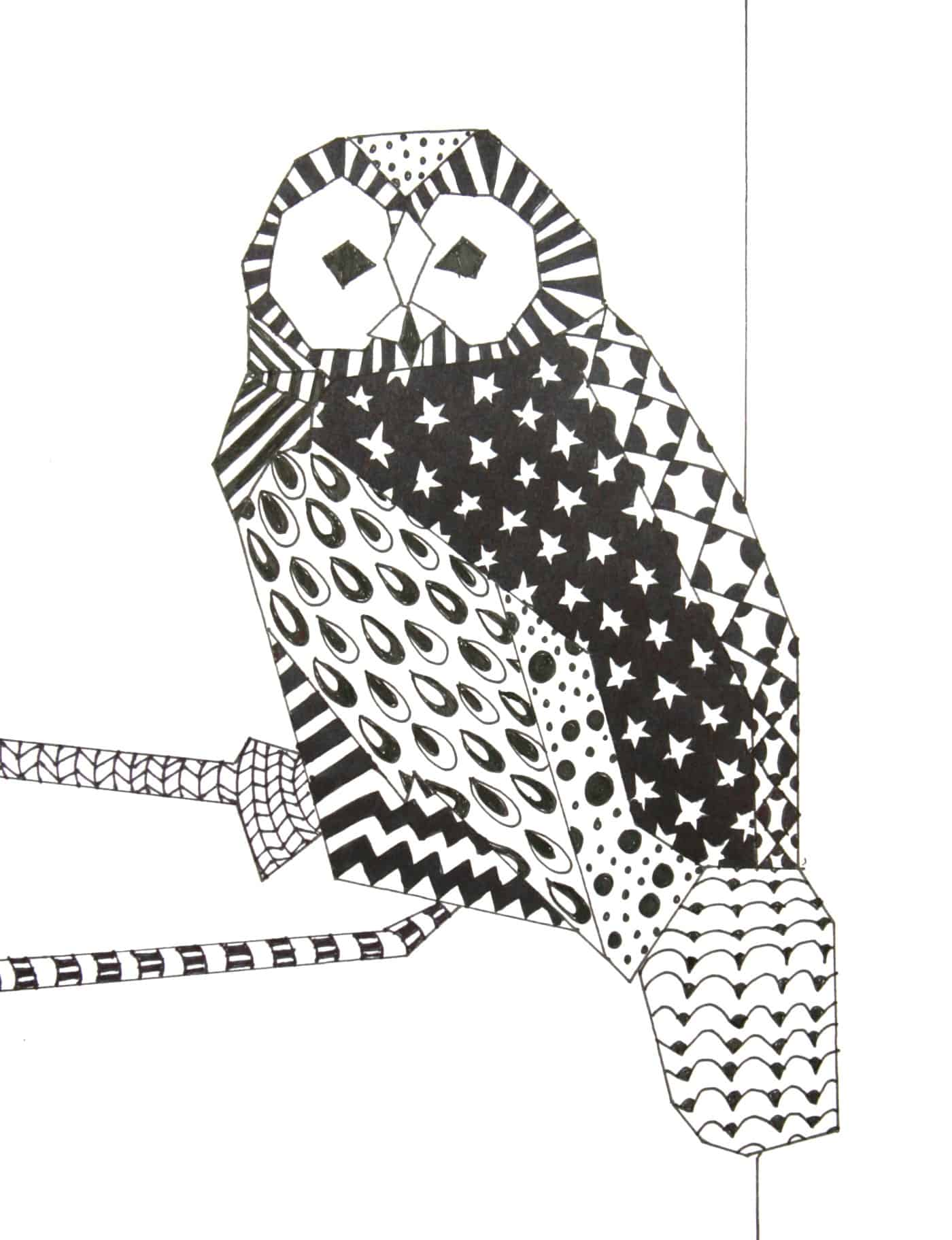 Zentangle owl drawing