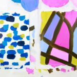2 abstract acrylic paint transfers