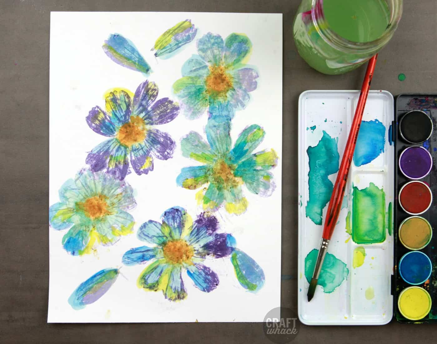 Watercolored and pounded flowers