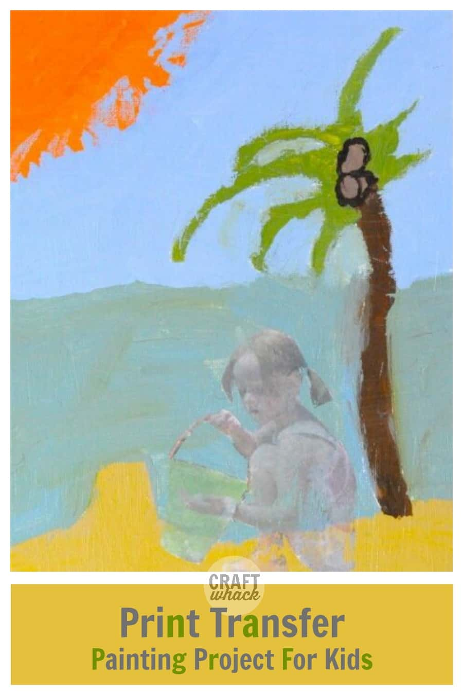 painting of beach with image transfer of girl