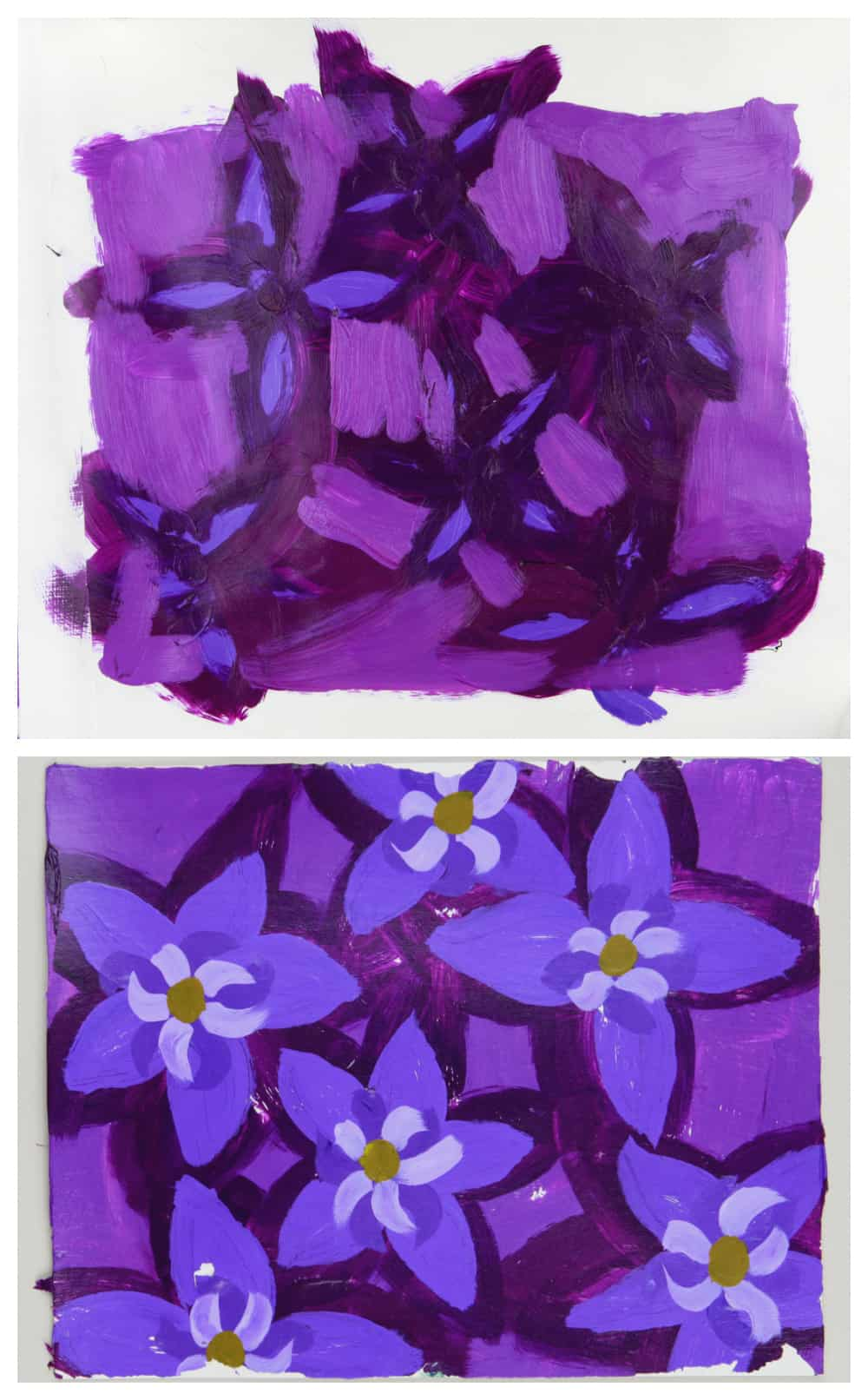 acrylic paint gel transfer steps showing front and back of purple flowers painted design