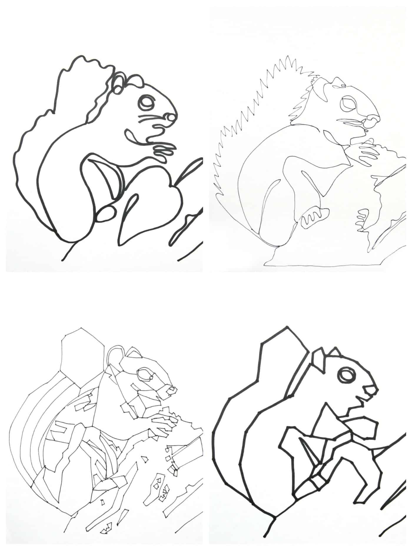 4 traced squirrel drawings