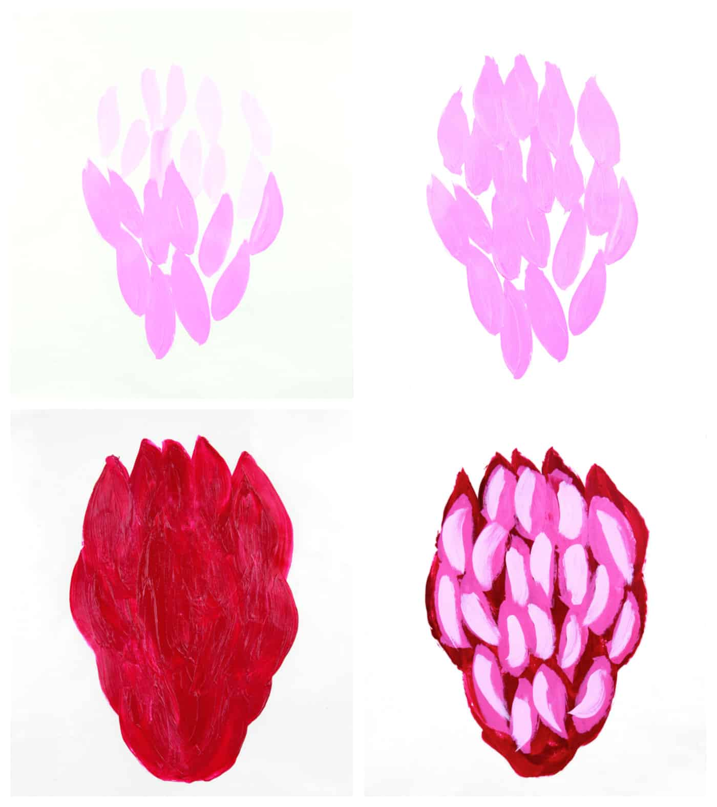acrylic paint gel transfer steps showing front and back of pink flower painted design