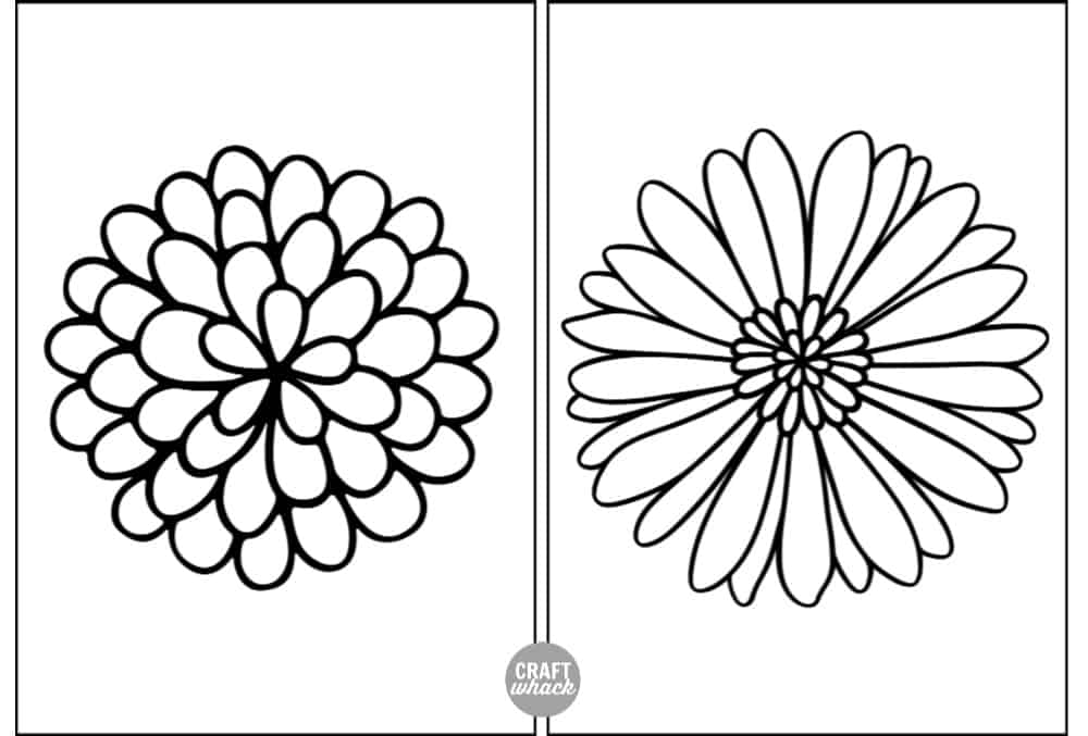 2 flower printables for zentangle drawing or coloring