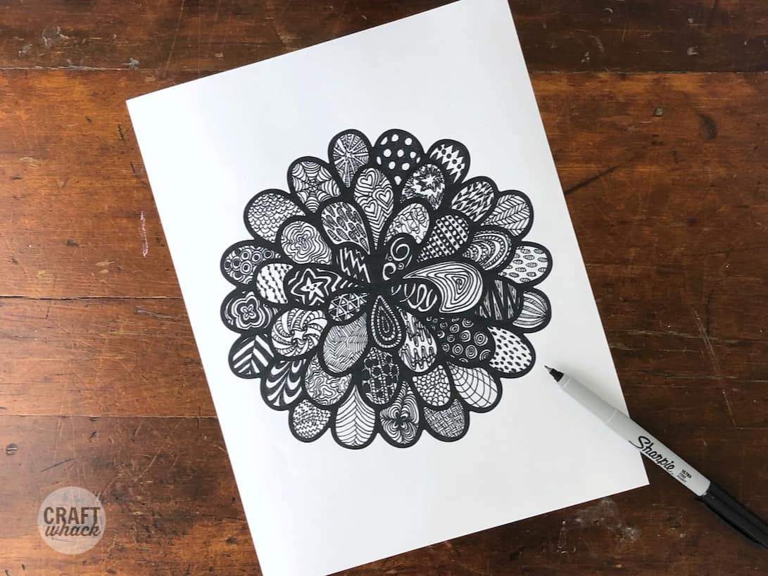 Zentangle doodle drawings in a free flower printout