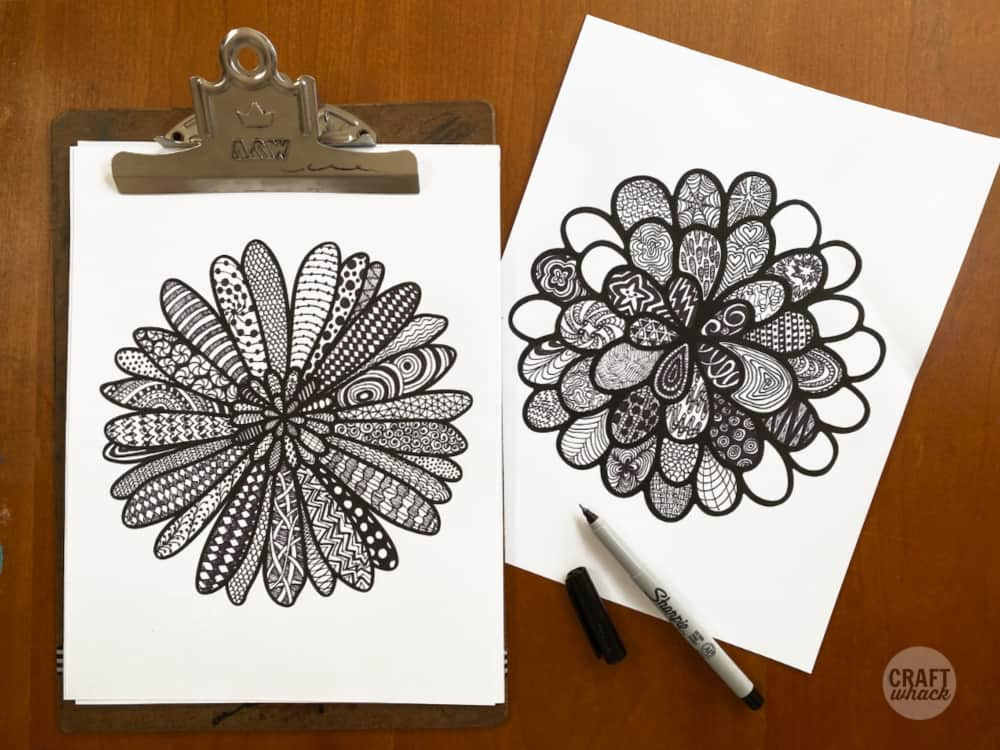 zentangle flower drawings from a printable