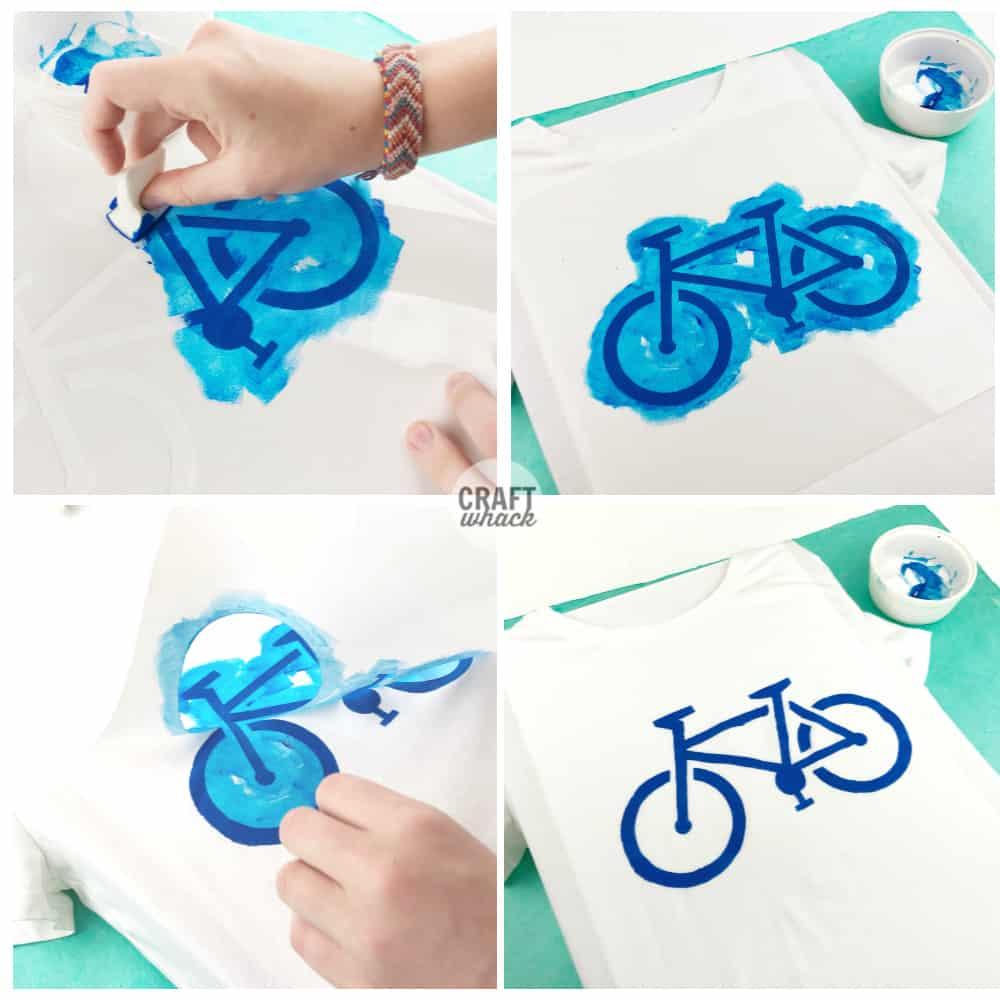 using bike stencil on tshirt