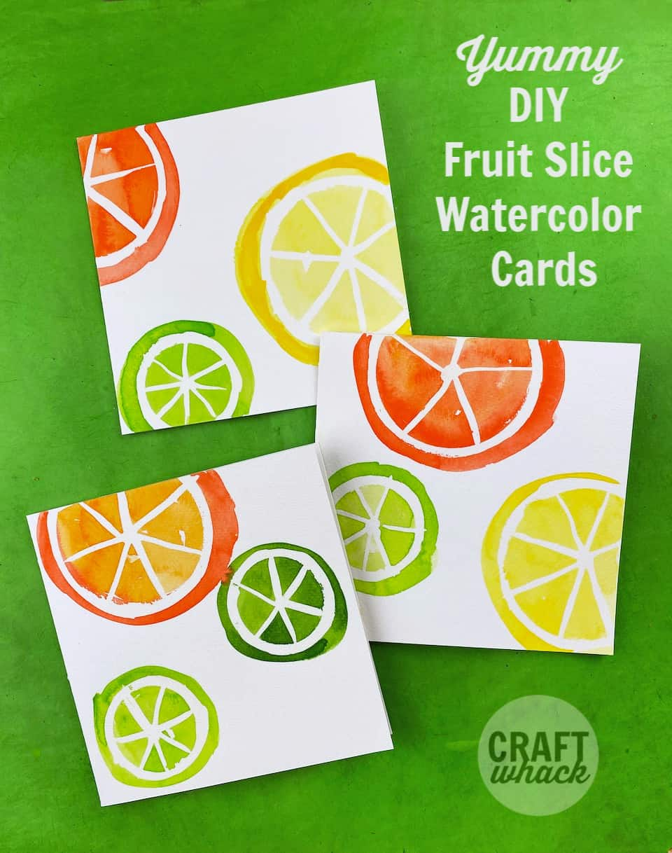 3 diy fruit slice cards made with watercolor