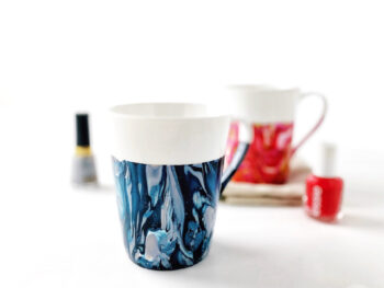 nail polished marbled mugs