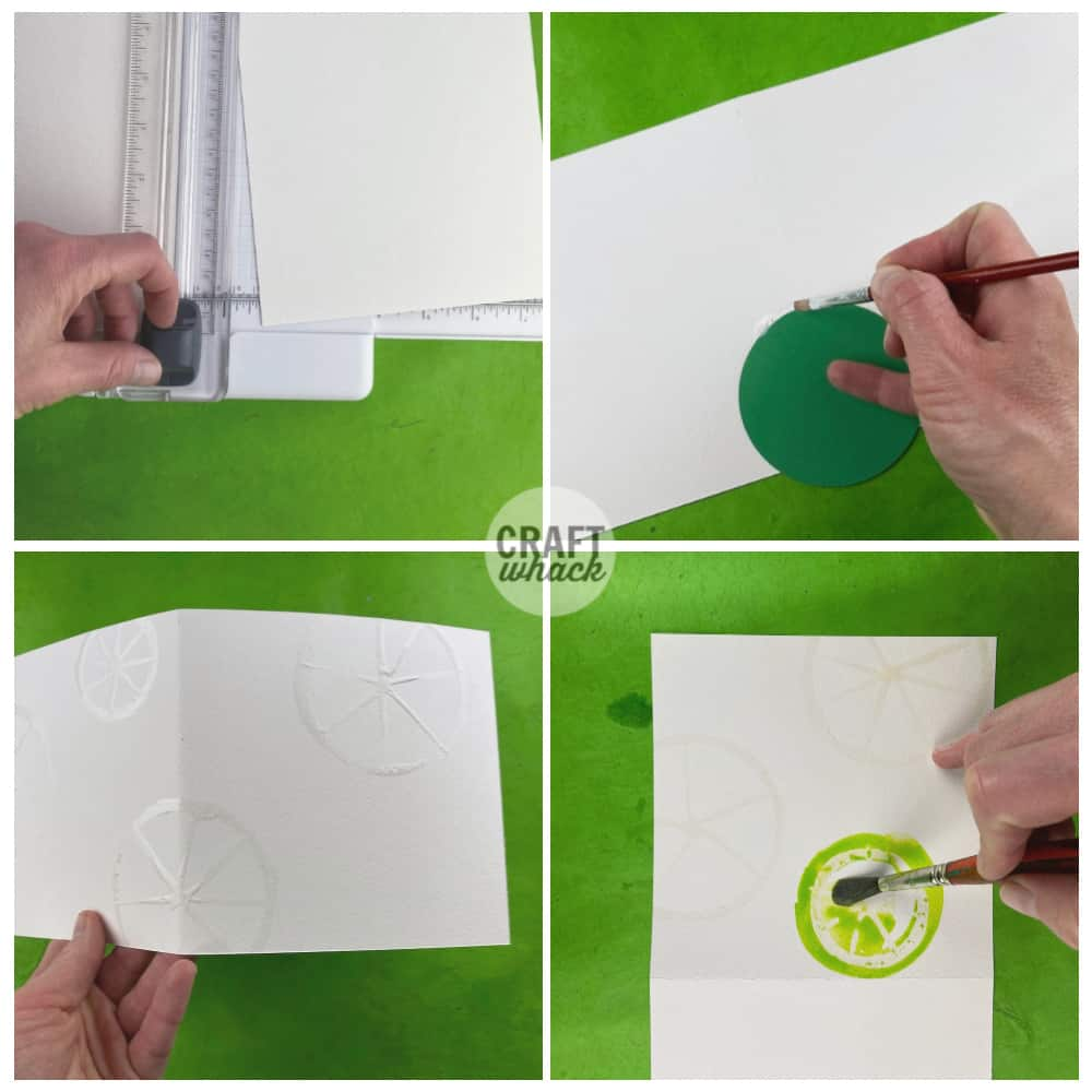steps for making a fruit slice watercolor card