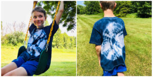 blue dyed spider web pattern shirt