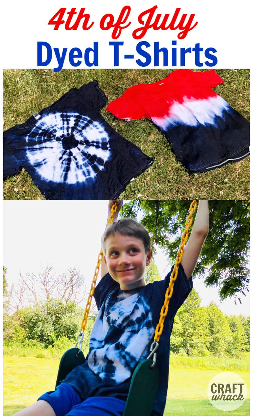 2 dyed t-shirts for 4th of july craft