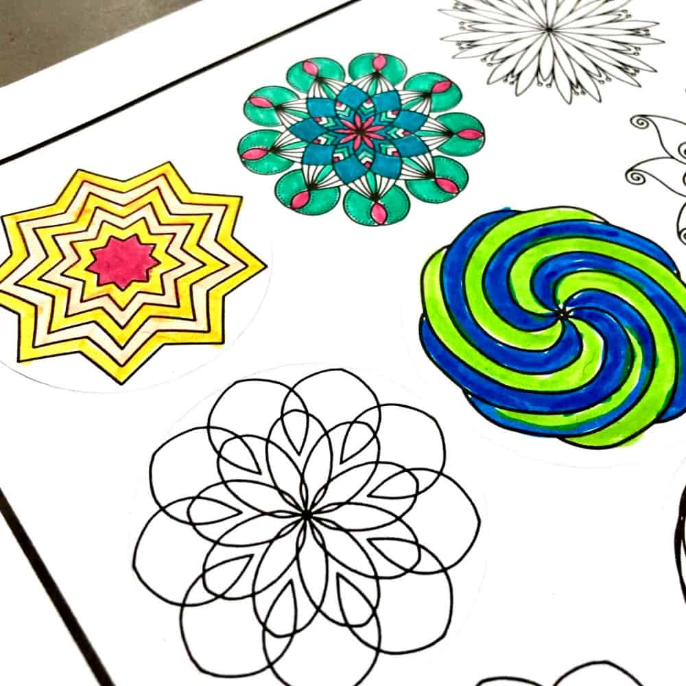 Coloring stickers made on the Cricut