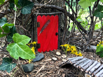 red fairy door in tree
