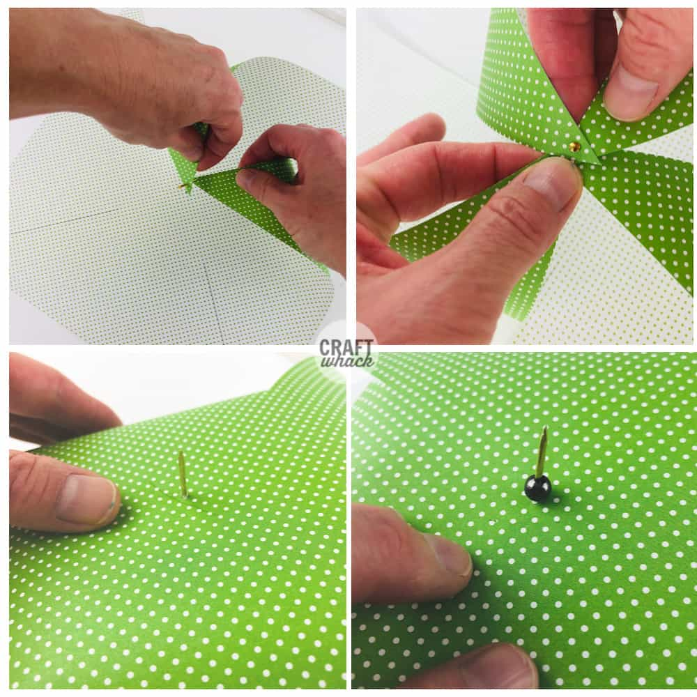 steps for making a paper pinwheel