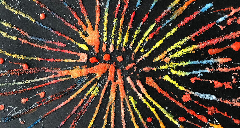 salt painting with watercolors to make fireworks