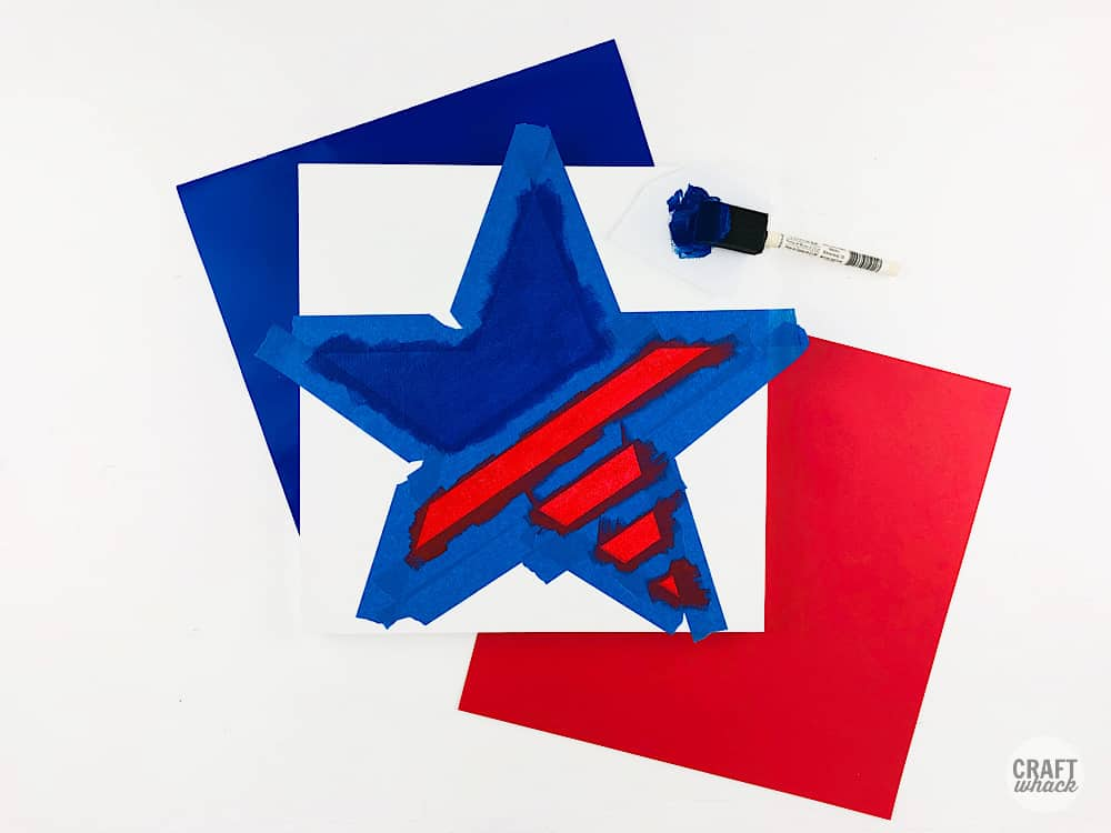 tape resist star art for the 4th of july