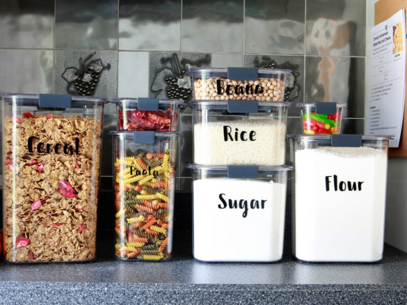 vinyl cricut labels on pantry containers