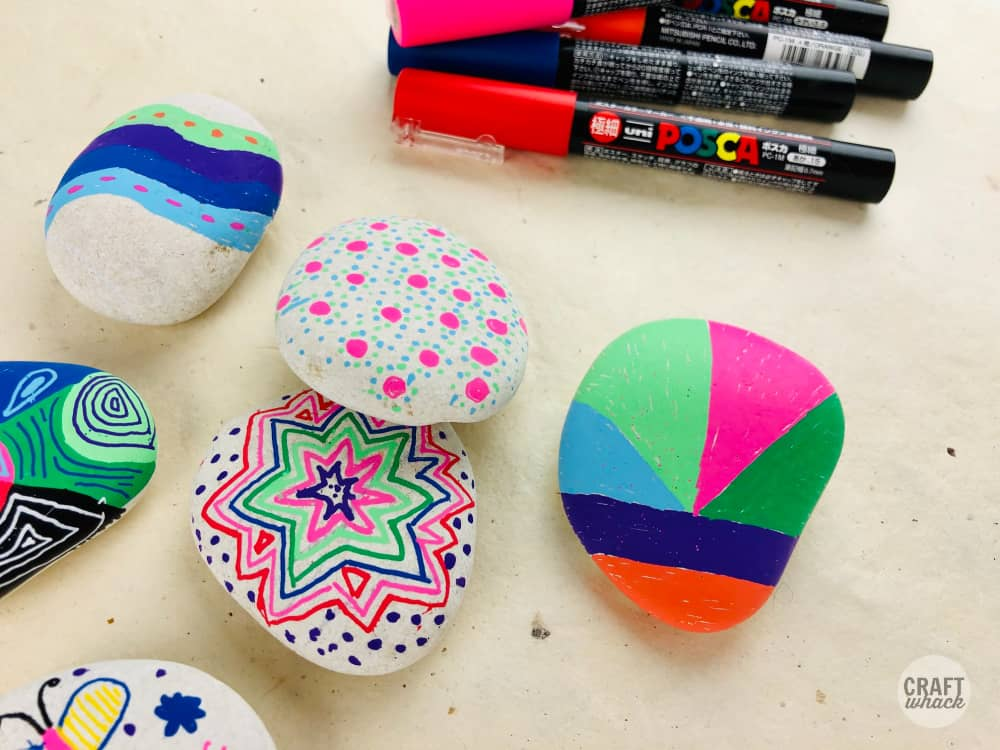 posca paint markers and rocks