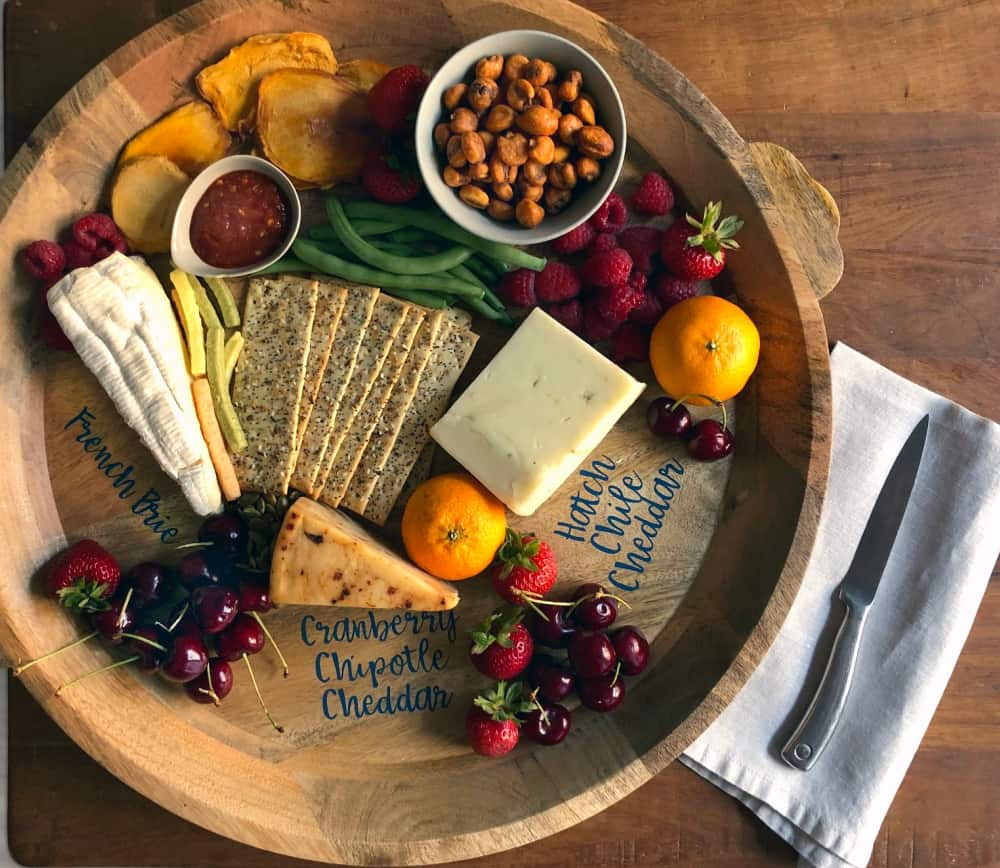 custom cheese tray labelled with vinyl from cricut maker